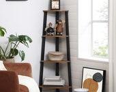 Corner Shelf, 4-Tier Bookcase, Indoor Planter, Indoor Plant Pot, Wooden Plant Stand,4 Tiers Plant Stand, Display Shelf,Wood Pattern ptsd426