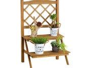 Ladder Plant Stand, 2-Tier Wooden Plant Holder Flower Pot Display Shelf with Trellis for Home Patio Lawn Garden Balcony PStand1090k1