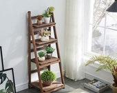 Farmhouse Rustic Handmade Wooden Ladder, Plant Stand, Pot Rack, Vertical Planter, Ladder Planter Shelf, Planter Pot Ladder 020-LAD