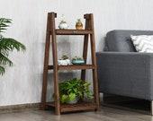 3-Tier Folding Wooden Plant Stand Flower Pot Holder, Foldable Plants Display Shelf Rack, Free Standing Ladder Plant 144-Plantstand