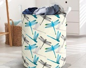 Dragonfly Pattern Laundry Basket Collapsible Waterproof Laundry Basket Clothes Storage With Handles Basket For Bathroom Toys Room Nursery
