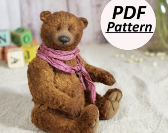 Classic Vintage Teddy Bear Pattern For Sewing Teddy Bear Sewing Pattern PDF Pattern Plush Teddy Bear Pattern Artist Plush Bear PDF Pattern