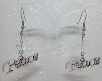 Peace word Earrings with Glass Bead multiple bead color choices Stainless Steel