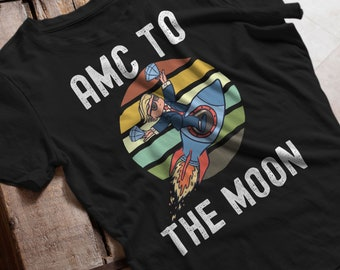 Rocket Emoji to the Moon Embroidery T-shirt stock market crypto trader gift