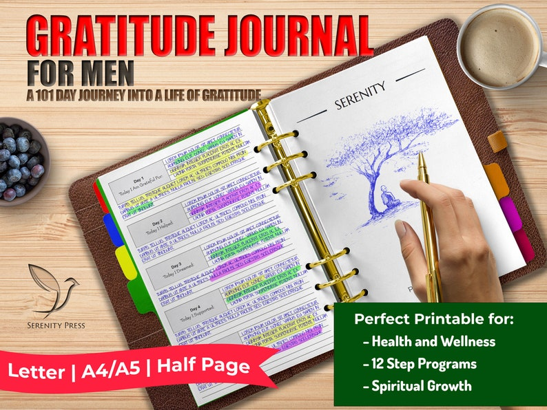 Prompted Gratitude Journal for Men  Spiritual Growth  image 0