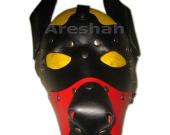 3D mould fetish unisex latex dog mask hood rubber fetish aninal mask