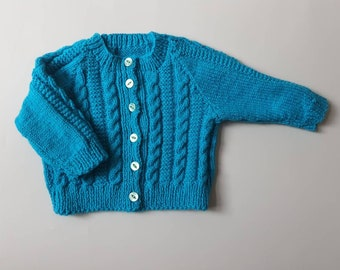 hand knitted and hand embroidered personalised name baby cardigan 6-9 months approx