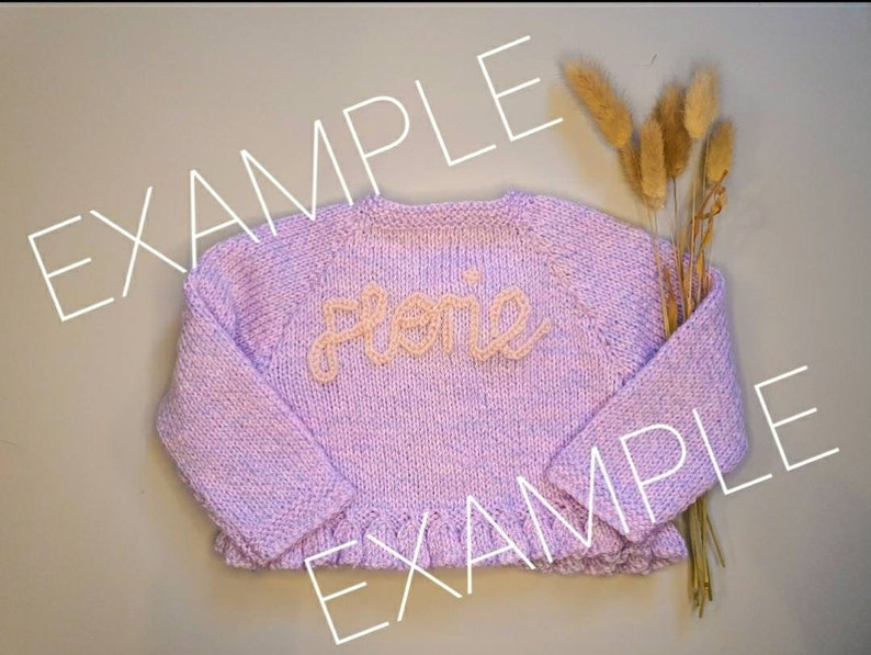 band knitted and hand embroidered personalised name baby cardigan 9-12 months approx
