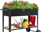 Dark Gray, Farmhouse Elevated Metal Planter Box,Winter Container Garden,Gardener Gift,Entryway Planter,Holiday Gift Ideas #PlanterBox006