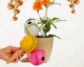 Ceramic Flower Plant Tender 3 Pack, Terracotta Watering Globes, 3 Self Watering Spikes, Plant Waterer for HousePlants #spike4