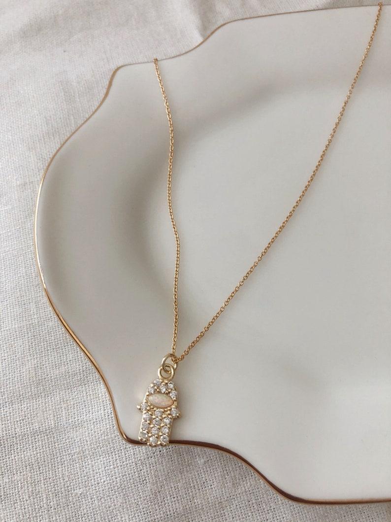 Hamsa Hand Opal Necklace Dainty Necklace Dainty Custom Jewelry Dainty Jewelry