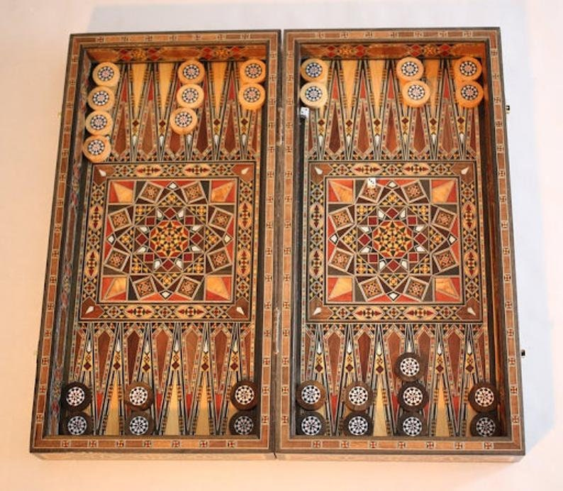 Syrian marquetry-luxury backgammon and chess board in one  image 0