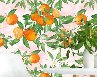 Mandarin Wallpaper Roll, Trendy Orange Tree Leaves Wallpaper, Kitchen Fruits Wall Mural, Removable Wallpaper, Peel & Stick, Pre-Pasted Paper
