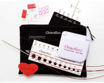 "Chiaogoo 4'' Twist Minis - Red Lace IC knitting needles 4""/10cm"