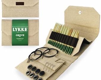"LYKKE Grove  5"" IC bamboo needle set - Interchangeable circular knitting needles set"
