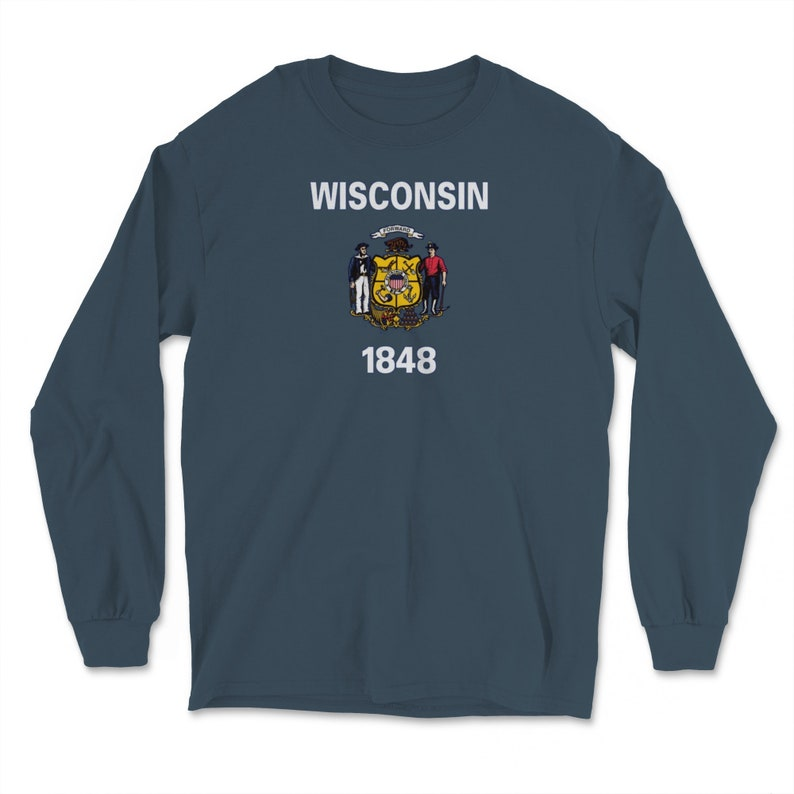 Wisconsin Minimalist State Flag Home State Resident Pride Gift Long Sleeve T-Shirt