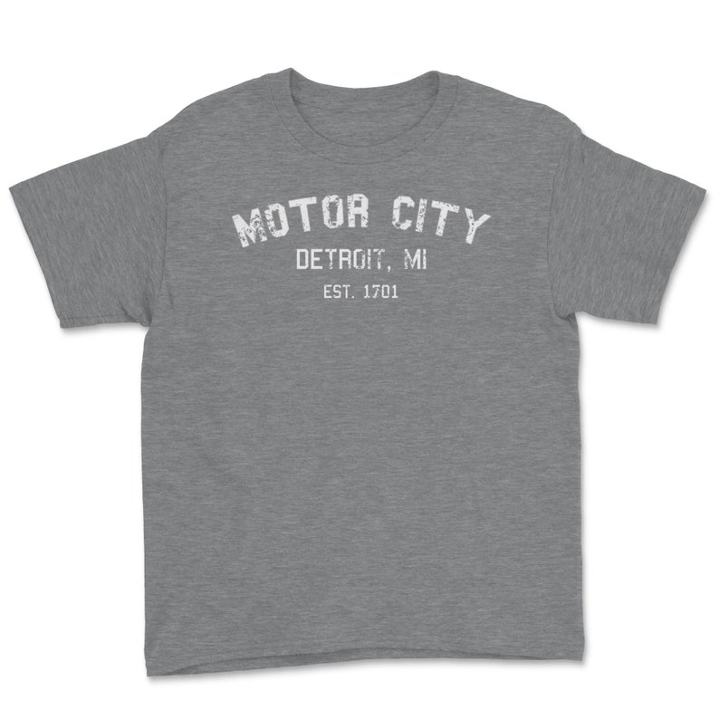 Motor City Classic Retro Vintage Detroit Michigan 1701Vintage Weathered Youth Tee