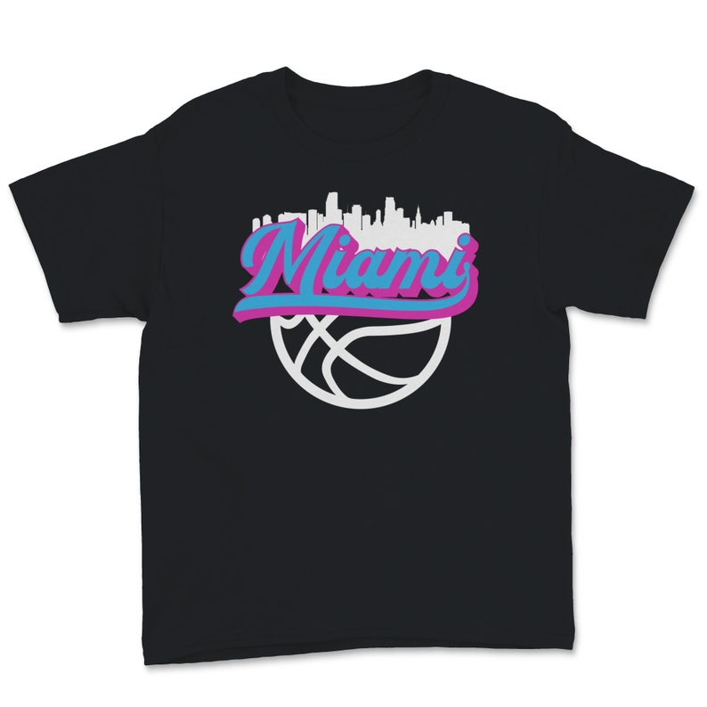 Miami Florida Basketball Fan City Skyline Classic Script Retro Youth Tee