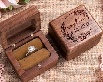 Personalized Wedding Ring Box Custom Wood Ring Box Engagement Ring Box Ring Bearer Ring Box Proposal Ring Box Engraved Ring Holder