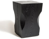 Wooden Stump Side Table with Wavy Design Surrounding Vertical Edges Raw | Natural | Black Finished , Gather Block Stool, Coffee Table