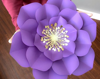 Large Paper Flower Template, SVG Paper Flowers, Diy Backdrop, Flower Centers, Flower PDF Pattern, Cricut Silhouette svg png dxf
