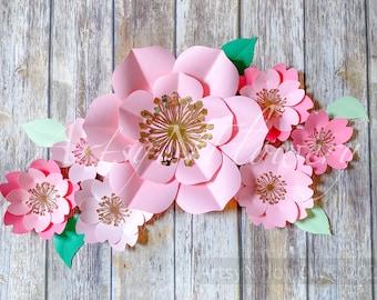 Paper Flower SVG Cricut Flower Design, PDF Flower Petal svg, Paper Flower Template, pdf pattern, flower cut file