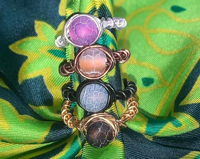 cracked agate wire rings