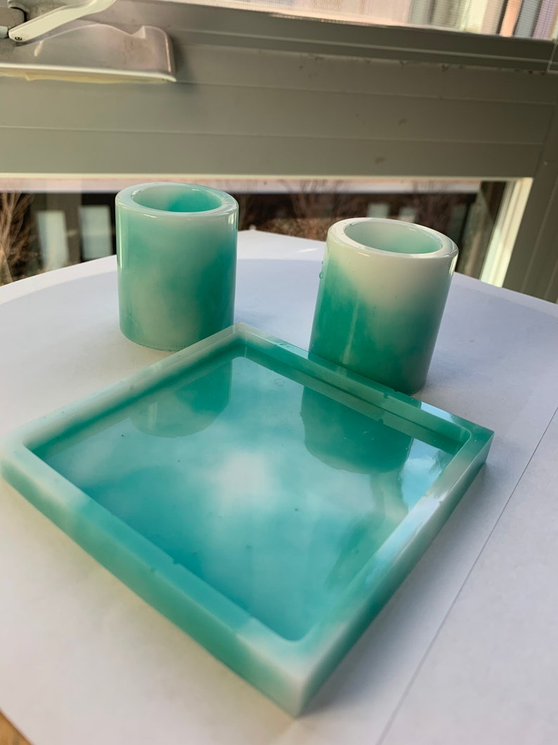 Blue Crush shot glass and coaster set