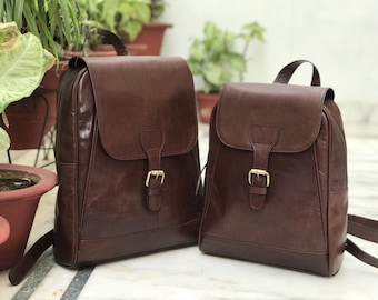 Combo pack of dark Coffee Brown Leather Backpack, Unisex Leather Handmade Bag, Women's Bag, Gift Bag,School and College Bag, Back To School