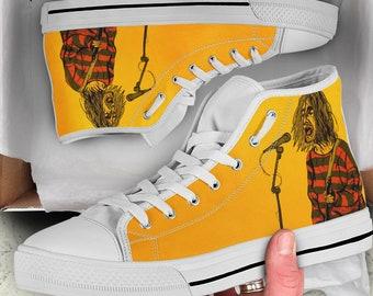 Kurt Cobain with American Flag Custom High Top Sneakers based on PROSPECT AVENUE White