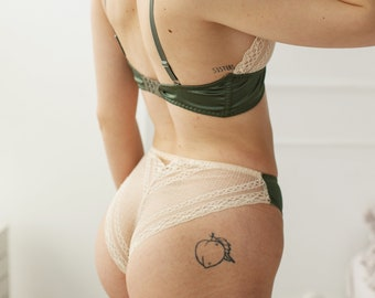 Natural lace and satin bralette and panty set will make you feel like a queen