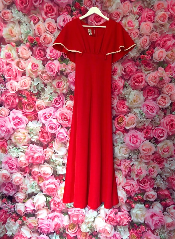 1970s red vintage maxi dress