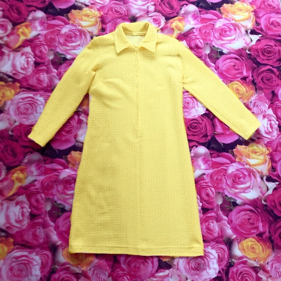 1960s Lemon yellow vintage midi mod dress