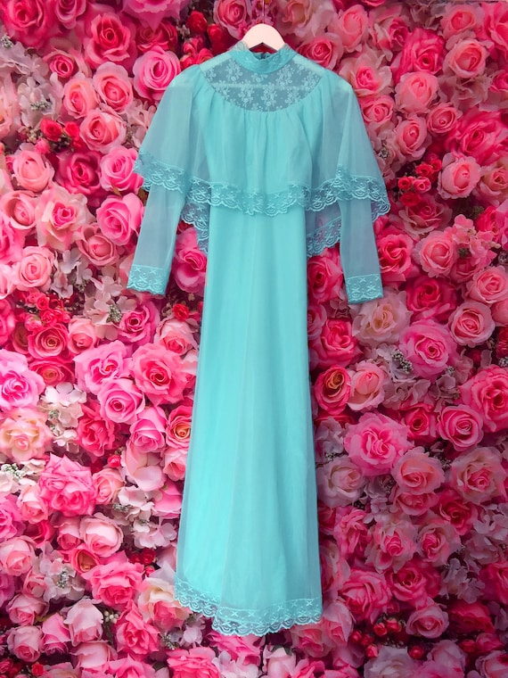 Aqua blue 1970s vintage chiffon lace maxi dress