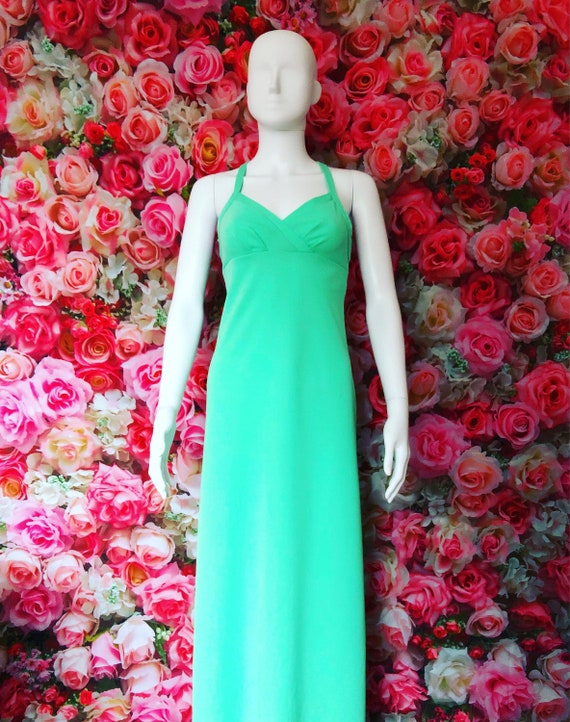 1970s Mint Green vintage maxi dress