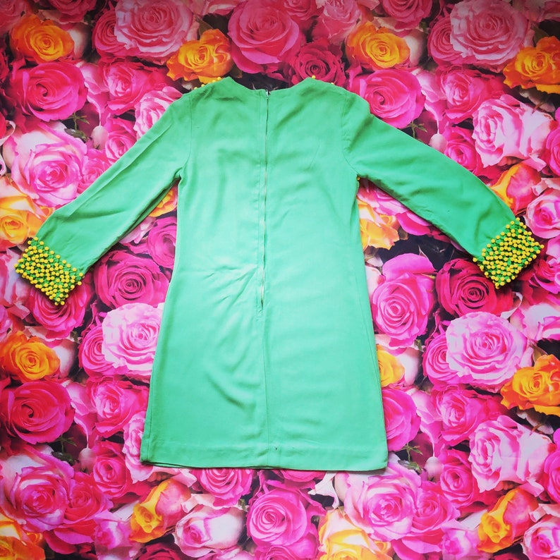 1970s Green Yellow Beaded vintage mini Boho Hippy dress