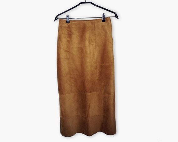 Vintage Women Suede skirt / Leather skirt / High w