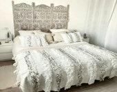 Moroccan Wedding Blanket Handira WHITE with Metal Sequins,carpet moroccan,berber,bedding blanket, Handmade and High Quality