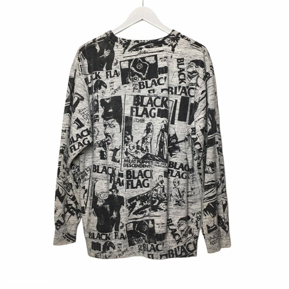 Vintage 90s Black Flag All Over Print Sweatshirt