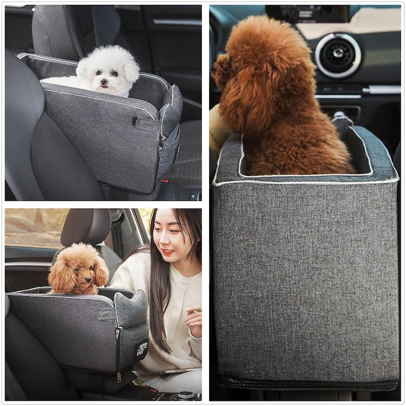 Dog Car Seat Pet Carrier Universal Armrest Box Nonslip Quilted image 2
