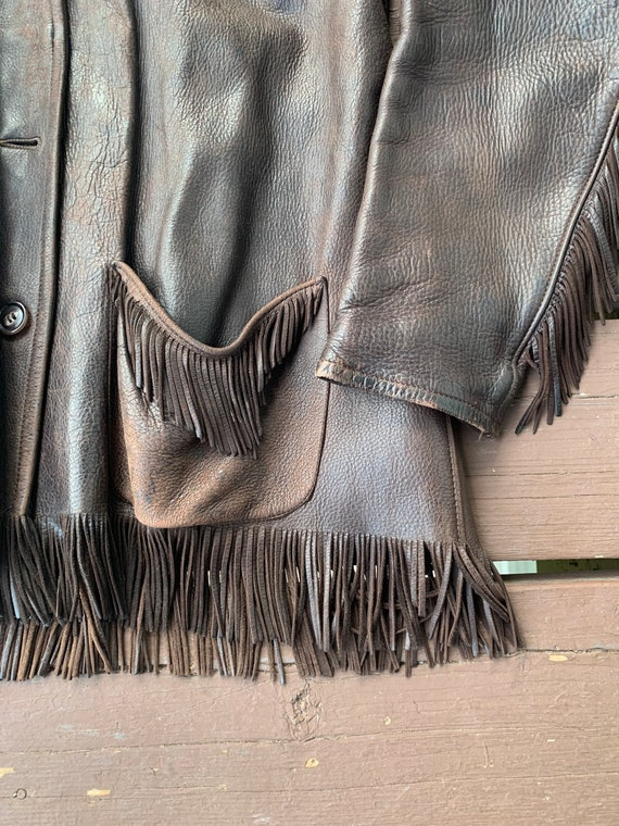 Vintage 1960s 4 button Fringed Leather Jacket - image 3