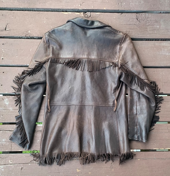 Vintage 1960s 4 button Fringed Leather Jacket - image 2