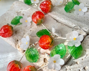 Strawberry Earrings - Strawberry Flower Leaf - Fruit Earrings - Cute - Creative Earrings - Gift - Handmade Earring.