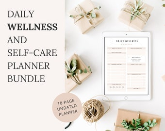 Daily Wellness Planner And Self-Care Planner Bundle With Habit And Sleep Trackers, A4 Undated Planner, Printable, Fillable PDF