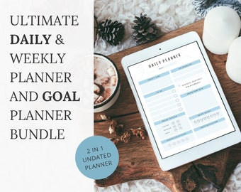 Quarterly Goal Planner & Daily/Weekly Productivity Planner, 2 in 1 Bundle, A4 Undated Planner, Printable, Fillable PDF