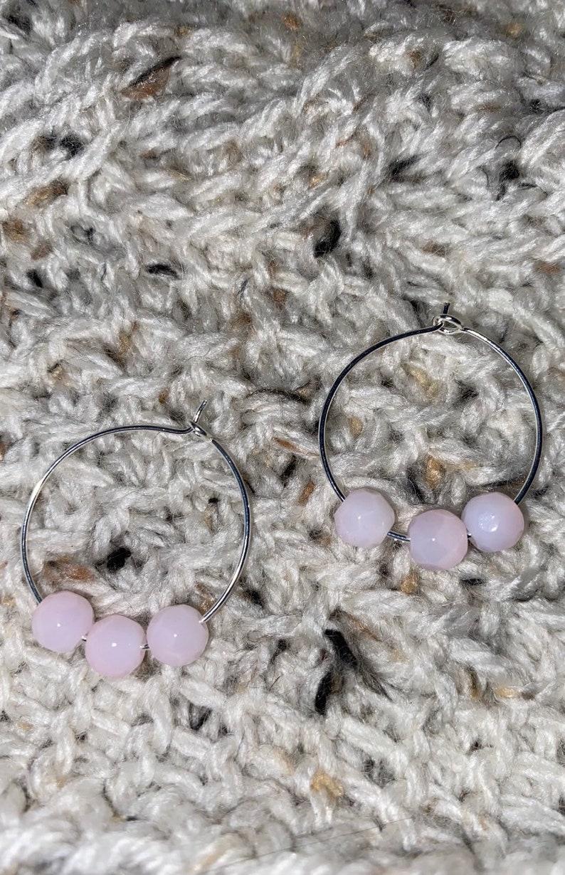 Pink hoop earrings silver