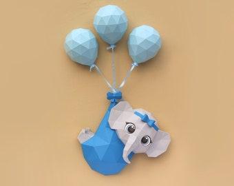 Papercraft 3D baby Elephant, low poly papercraft easy DIY origami decoration pepakura