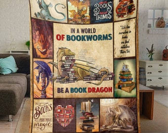 Book Dragon Premium Blanket, In A World Of Bookworms Be A Book Dragon Quilt, Funny Gift For Bookworm, Book Lover, Reading Book Gift Ideas