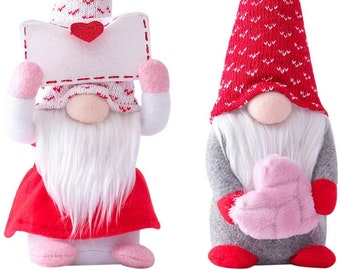 Valentines Gifts Gnome Faceless Santa Doll Faceless Plush Doll Pendant Valentines Day Decorations with Gift Card Red/&Pink, 2PCS Handmade Valentines Gifts for Women