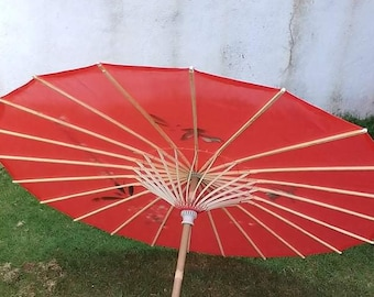 Vintage Japanese Rice Paper and Bamboo Umbrella Red and White Swirl Design